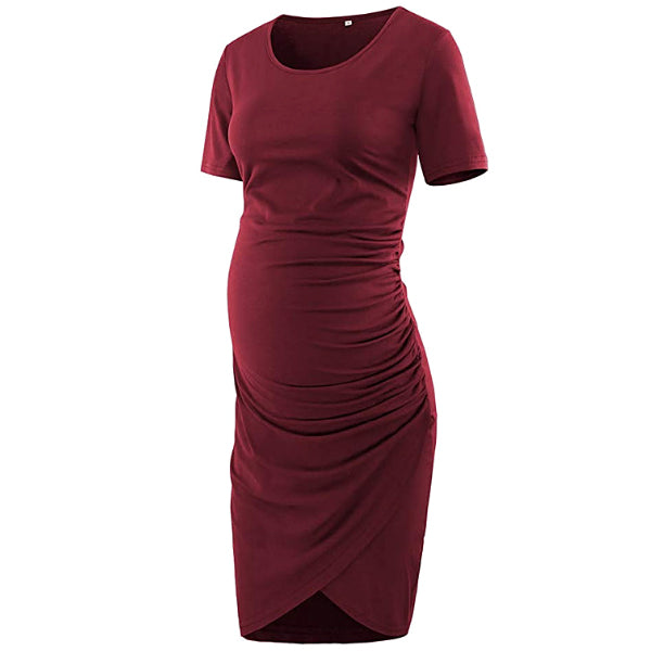 Elegant Wine Short sleeves Shirred Maternity Dress