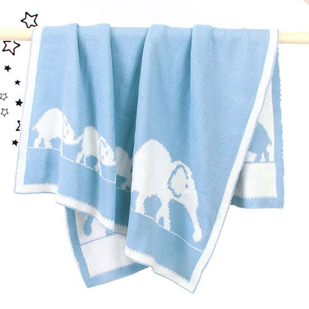 Elephant Family Baby Blanket Front