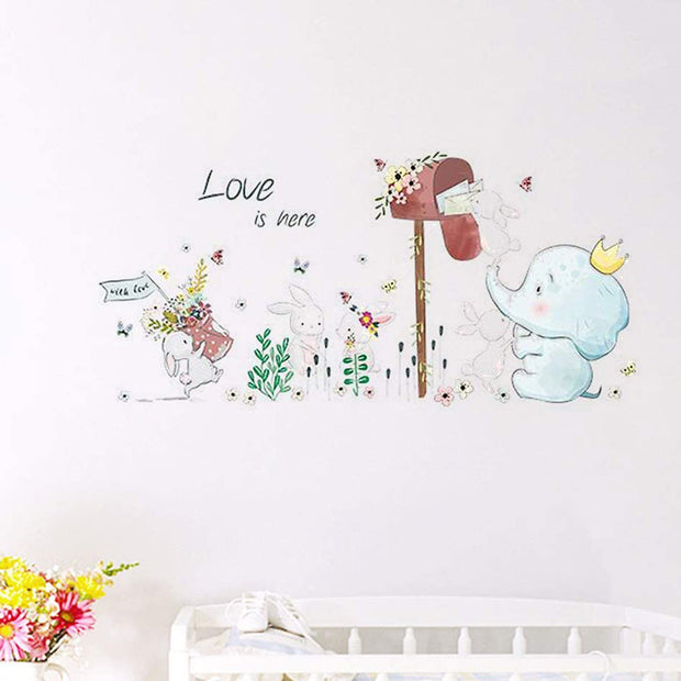 Elephant & Rabbits Nursery Wall Stickers