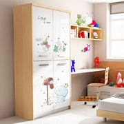 Elephant & Rabbits Nursery Stickers on wardrobe
