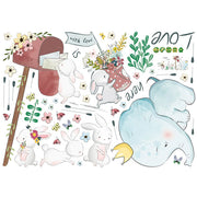 Elephant & Rabbits Nursery Stickers packed size