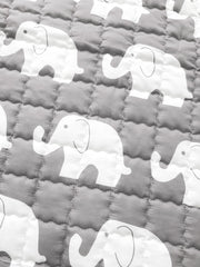 Elephants Round Cotton Baby Play Mat 150-150 cm closeup