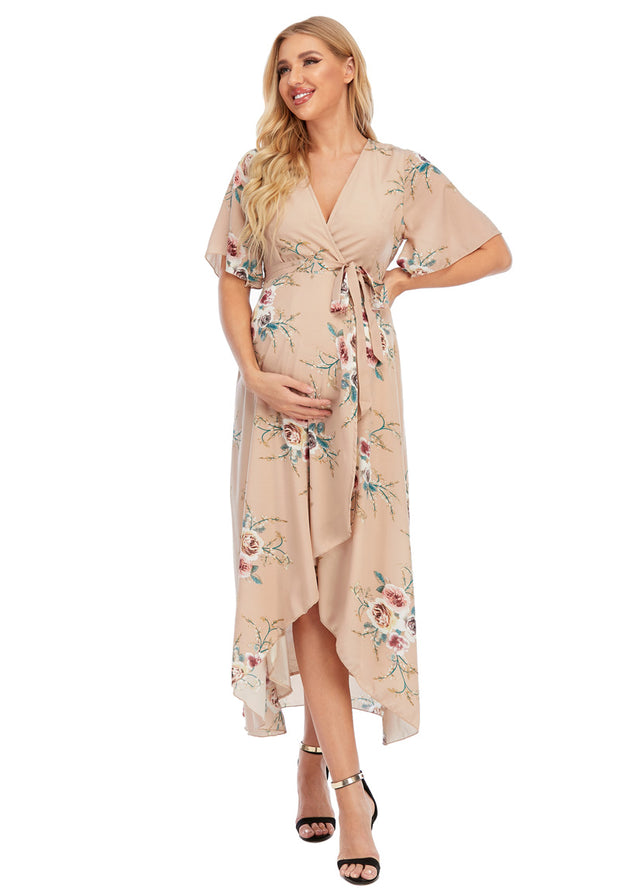 Eva Maternity & Nursing Wrap Dress Front 1