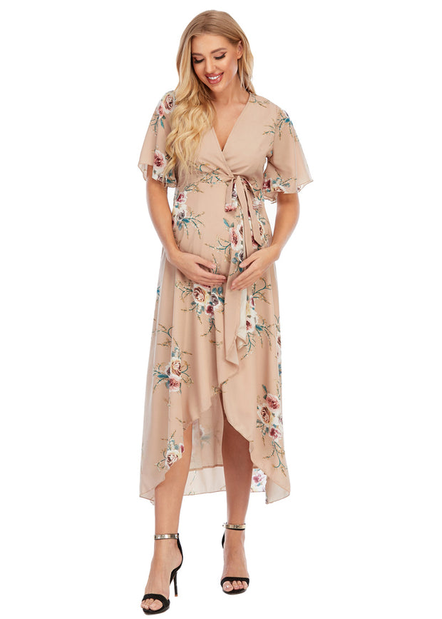Eva Maternity & Nursing Wrap Dress Front 2