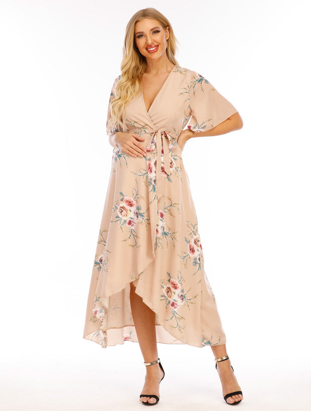 Eva Maternity & Nursing Wrap Dress Front
