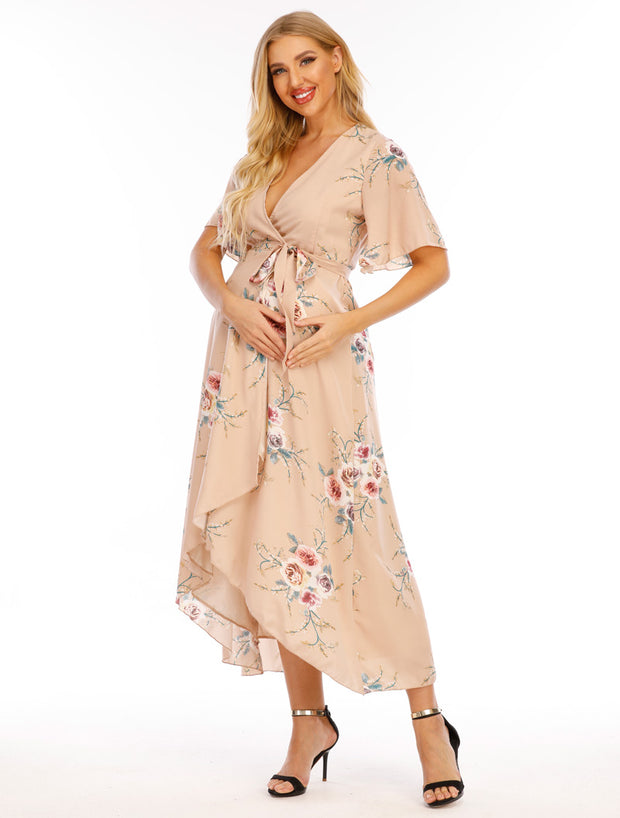 Eva Maternity & Nursing Wrap Dress Side 1