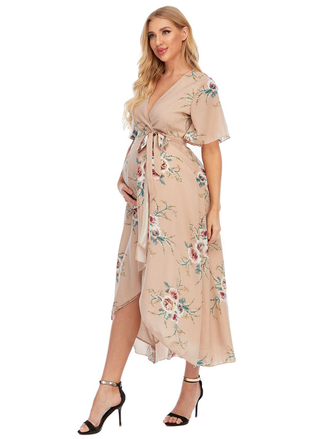 Eva Maternity & Nursing Wrap Dress Side View