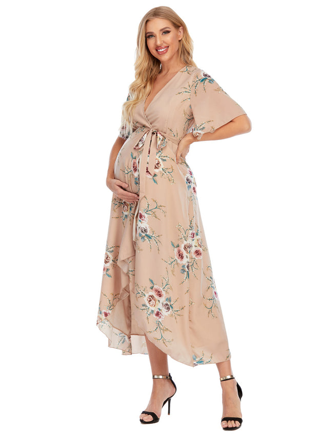 Eva Maternity & Nursing Wrap Dress Side