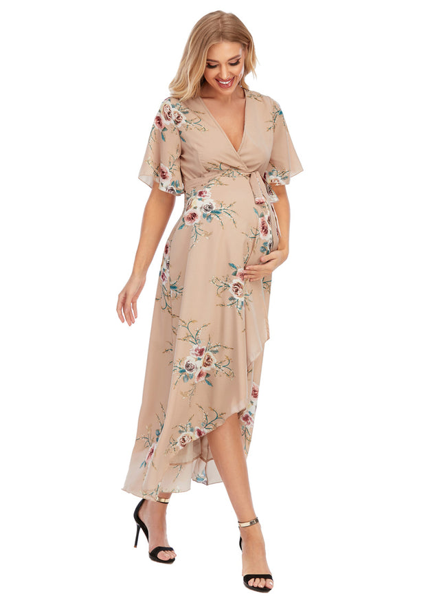 Eva Maternity & Nursing Wrap Dress Walking
