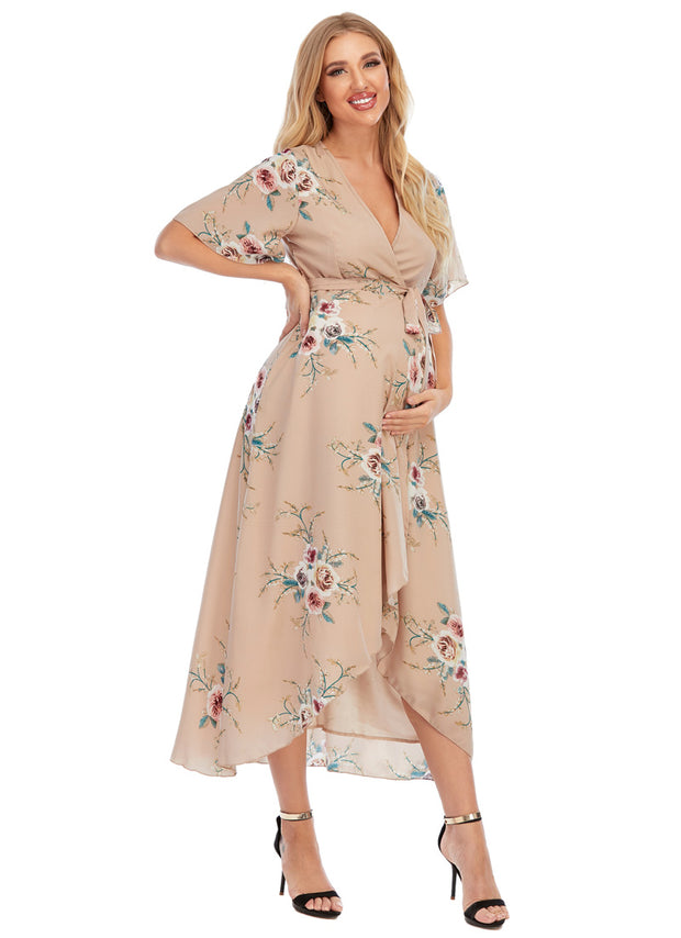 Eva Maternity & Nursing Wrap Dress with hand on waist