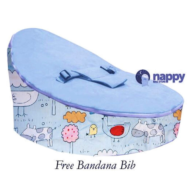 Farm Blue Cuddle Nest Baby Bean Bag