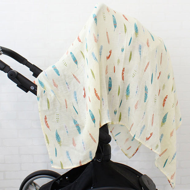 Feathers Baby Swaddle Wrap On pram