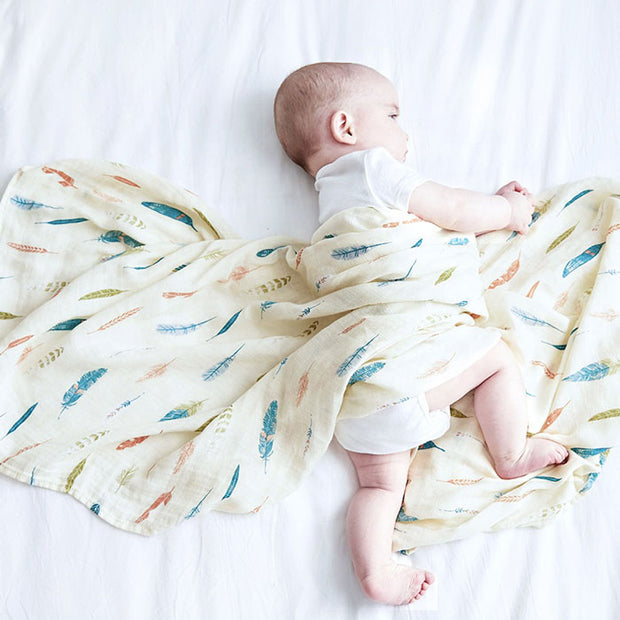 Feathers Baby Swaddle Wrap with baby