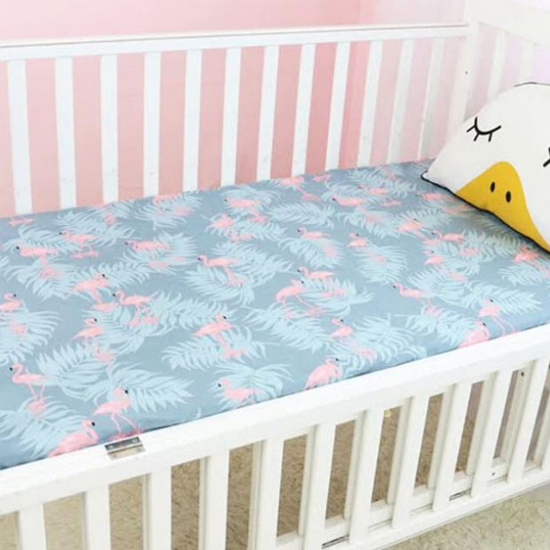Flamingo & Leaves cotton Fitted baby nursery Cot Sheet