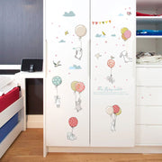 Flying Rabbits Nursery Sticker on Wardrobe