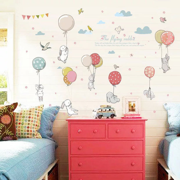 Flying Rabbits Nursery Wall Sticker