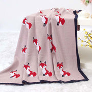 Fox Rose Baby Blanket in Bassinet