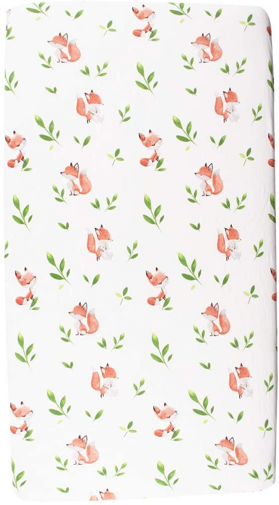 Fox fitted cot sheet close up