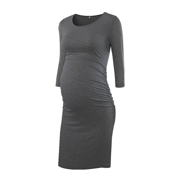 Kaya – Grey Full Sleeves Maternity Dress