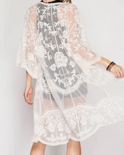 Holly White Lace Maternity Kimono Backside