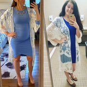 Holly White Lace Maternity Kimono Customer Image
