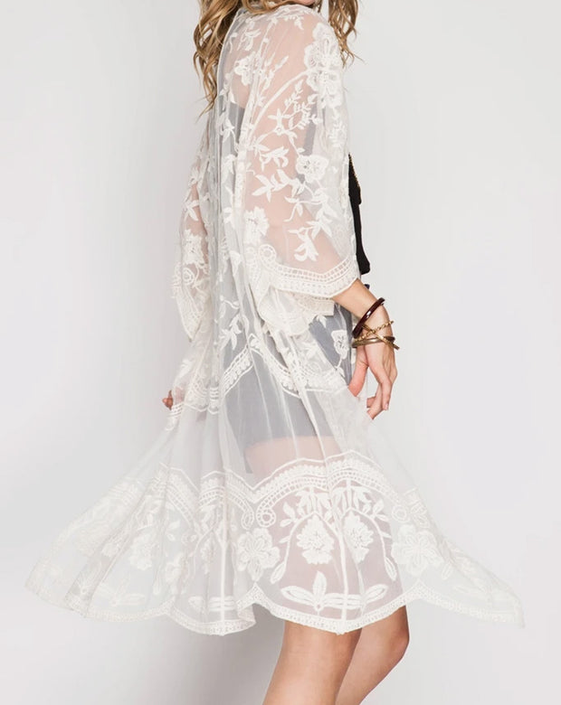 Holly White Lace Maternity Kimono Side