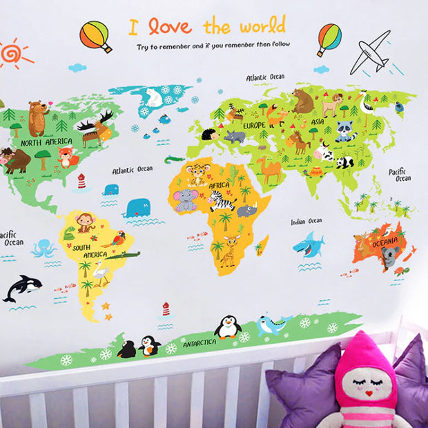 I Love The World Map Baby Nursery Wall Sticker Main