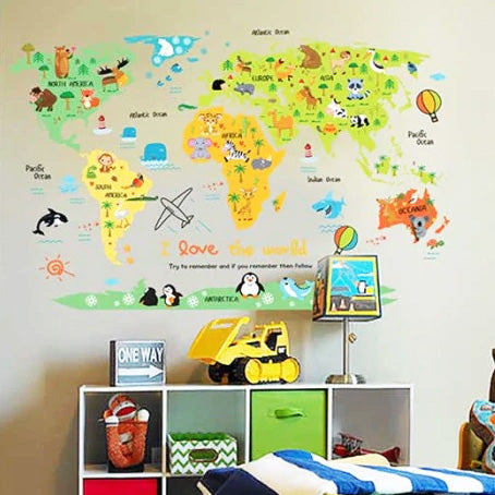 I Love The World Map Baby Nursery Wall Sticker