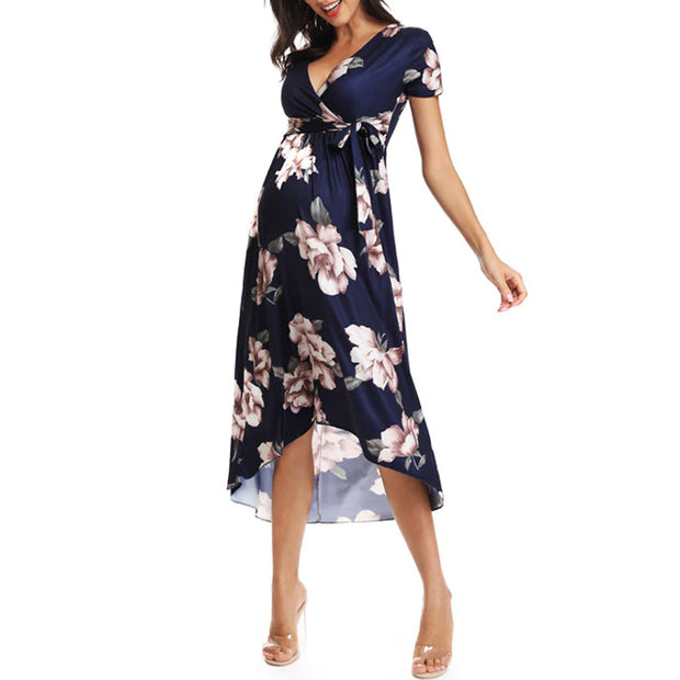 Isla Side Ruched Maternity Dress Navy Front