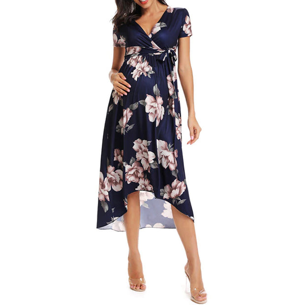 Isla Side Ruched Maternity Dress Navy front 1