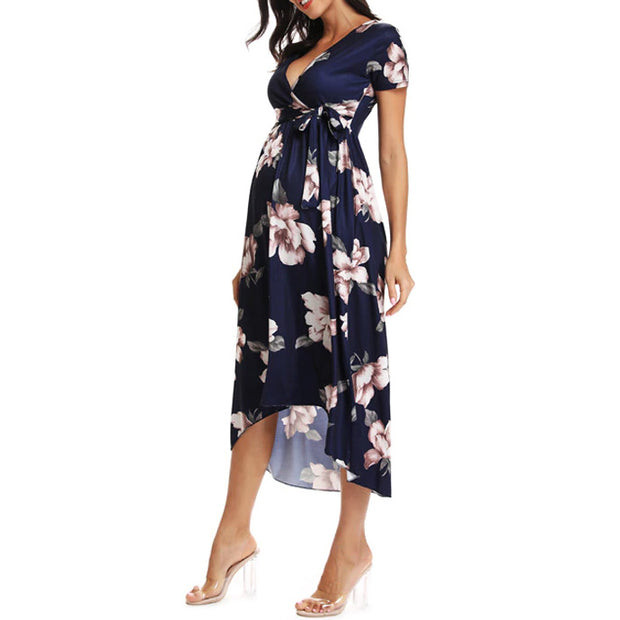 Isla Side Ruched Maternity Dress Navy side
