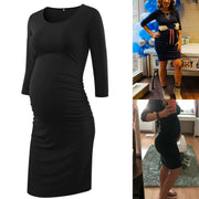 Kaya Black Full Sleeves Maternity Dress
