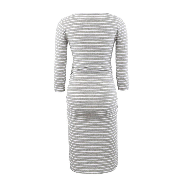 Kaya Grey Stripes Maternity Dress Backside