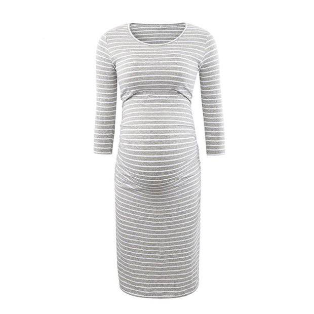 Kaya Grey Stripes Maternity Dress Front