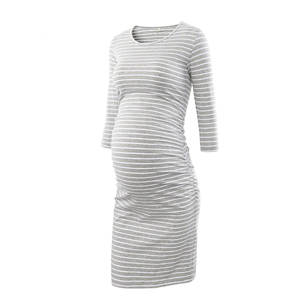 Kaya Grey Stripes Maternity Dress