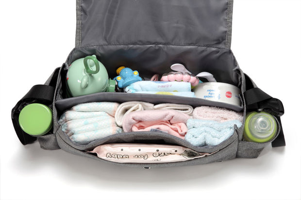 Kayla Grey Pram Caddy inside with items