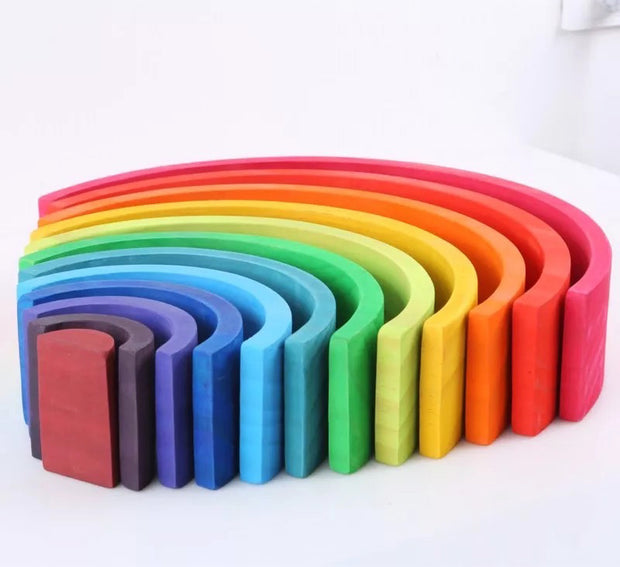 Large 12 piece Wooden Rainbow Stacker Side View
