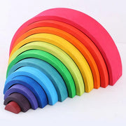 Large 12 piece Wooden Rainbow Stacker