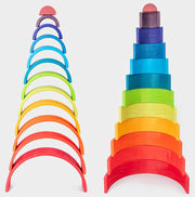 Large 12 piece Wooden Rainbow Stacker stacked