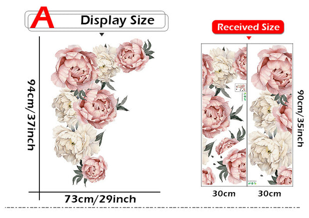 Large Peony Flowers Wall Sticker size