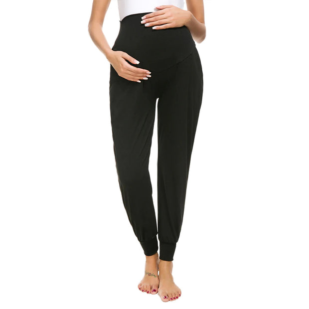 Leah Black Maternity Casual Pants front