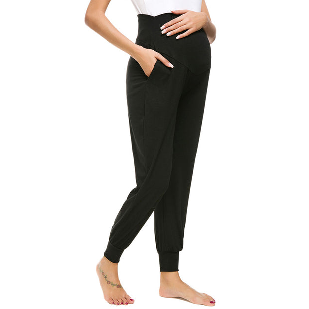 Leah Black Maternity Casual Pants side view