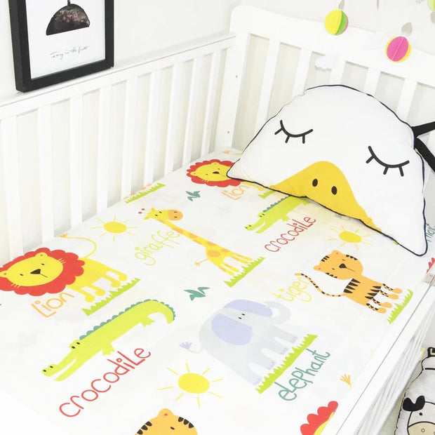 Lion Friends Fitted Cotton Baby Cot Sheet