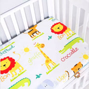 Lion Friends Fitted Cotton Baby Cot Sheet close up