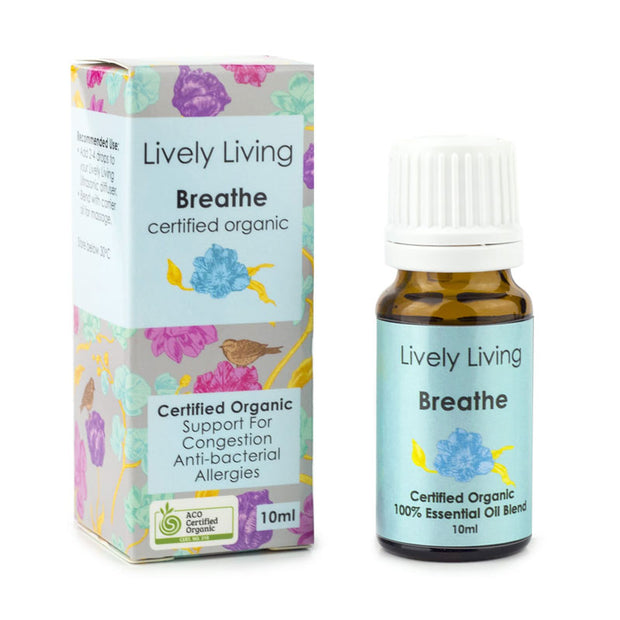 Lively Living Breathe 100% Certified Organic Essential Oil 10ml