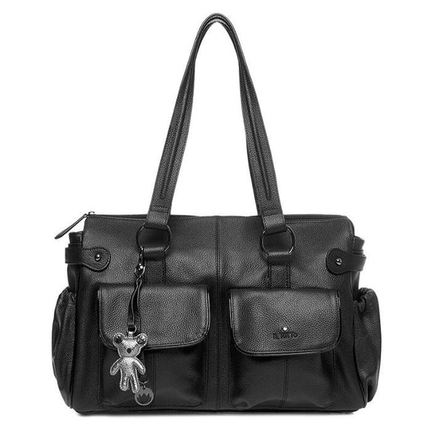 Mia Leather Tote Nappy Bag Black - Iltutto