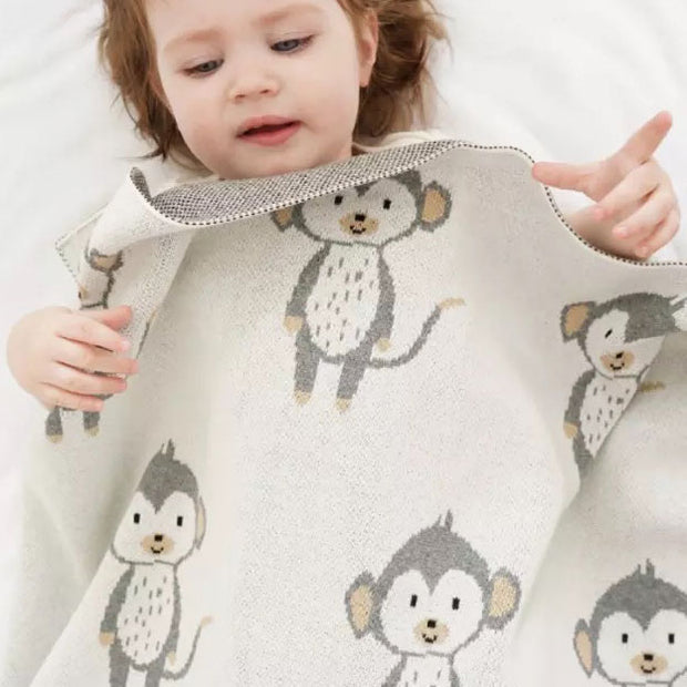 Monkey Baby Blanket with baby
