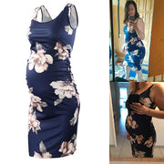 Navy Floral Sleeveless Maternity Dress