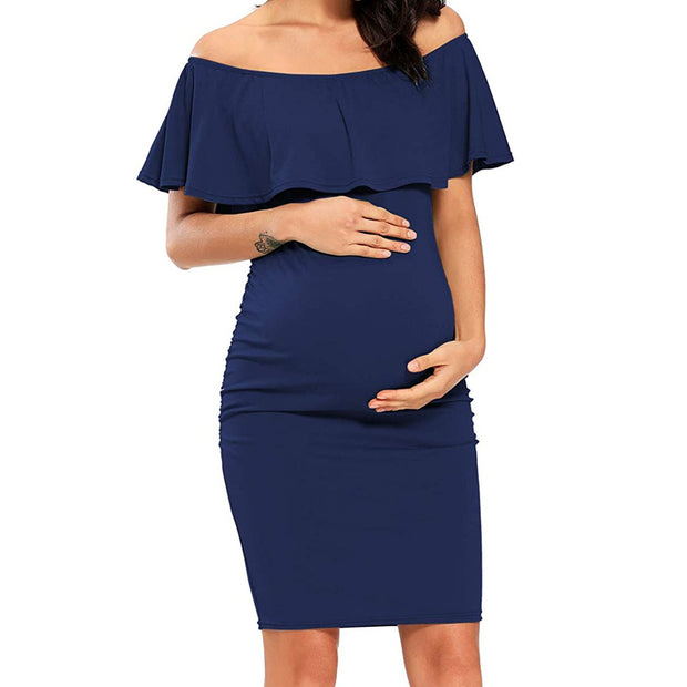 Off Shoulder Casual Maternity Dress