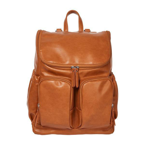 OiOi Faux Leather Nappy Backpack - Tan front
